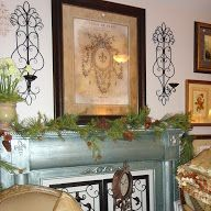 mantel with abundance/brilliant white/verde glaze