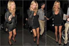 Kate Moss looks amazing as usual in a studded leather jacket, basic top, leather skirt and pointed stilettos