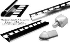 10 Stück x 250cm Viertelkreisprofil 6-12,5 mm Glänzend/Gebürstet Profile