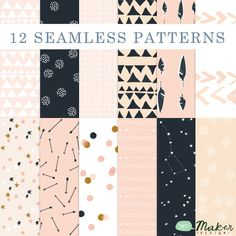 Pink, Peach, Gold and Navy!  Arrows & Stars - Seamless Patterns - Digital Scrapbook - Paper Pack