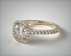 Cushion Outline Pave Engagement Ring | 18K Yellow Gold | 17086Y - Mobile