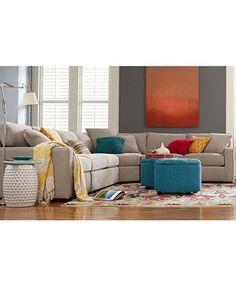 Radley Fabric Sectional Sofa Living Room Furniture Collection   Furnitureu2026