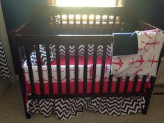 Custom crib set nautical hot pink handmade check us out on FB Vinti M baby