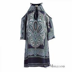 Ladies multi coloured paisley print cold shoulder dress for wholesale - dresses | Moguland.com - Wholesale Women's Clothing