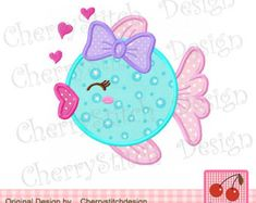 Embroidery Design Fish Sea Animal Machine Embroidery Applique for gilrs inch Heart fish with bow Digital Applique inch-Sea Baby Applique, Applique Patterns, Applique Quilts, Applique Designs, Quilt Patterns, Best Embroidery Machine, Machine Applique, Free Machine Embroidery Designs, Embroidery Stitches