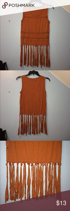 Brown Beaded Fringe Top Brown and red beaded fringe top. Boxy fit with crisscross cut outs. Perfect for festival season. Forever 21 Tops Tank Tops