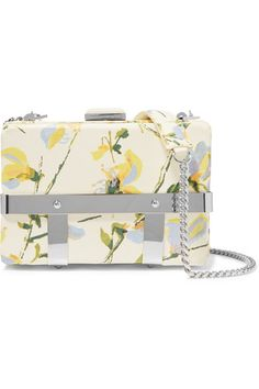 Cream and multicolor sweet pea nappa Caged Bag. The bag features an adjustable shoulder strap, caged base of the bag and square clasp closure. Brass hardware with a silver finish.