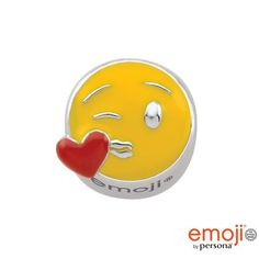 #ZALES - #Persona Persona Sterling Silver Enamel Kissing Emoji Charm at Zales - AdoreWe.com