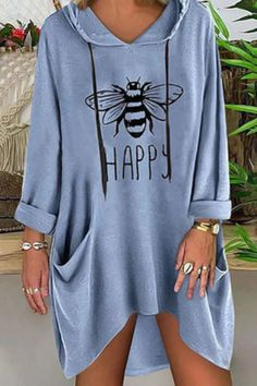 Casual Bee Print Hooded Pockets T Shirt - Book T Shirts - Ideas of Book T Shirts - Casual Bee Print Hooded Pockets T Shirt immorgo Casual Dresses, Casual Outfits, Fashion Dresses, Cute Outfits, Vegas Outfits, Girly Outfits, Club Dresses, Vintage Sweatshirt, Types Of Sleeves
