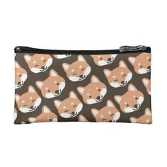 Cutie Shiba Inu Dog Faces Pattern Cosmetics Bags