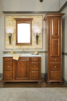 Elegant Bath Collection - Door Style - Rose Hall Square in Cherry finished in Sable. Wellborn Cabinet Inc. Wellborn Cabinets, Rose Hall, Bathroom Vanity Cabinets, Relaxing Bath, Bath Design, Cabinet Design, Cherry, Linen Storage, Home Decor