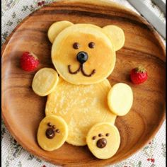 Fun food.  Cute Teddy Bear Pancakes.