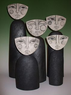 artist sue hanna...love these faces...switch it up for picasso Option: cardboard head/bottle/paper towel tube bottom.