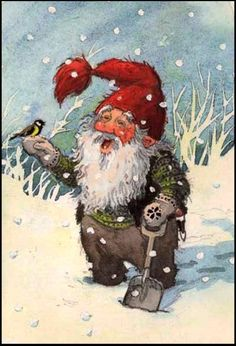 2013 Vintage Christmas Cards and Illustrations: Nisse In The Snow And A Little Bird