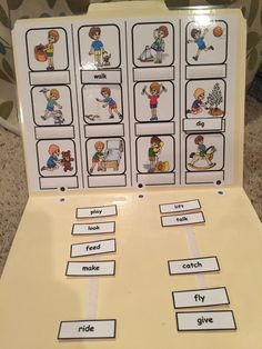 Match the action word label to the action picture file folder task created by Inspired by Evan Autism Resources. Find more ideas on my Pinterest Boards!