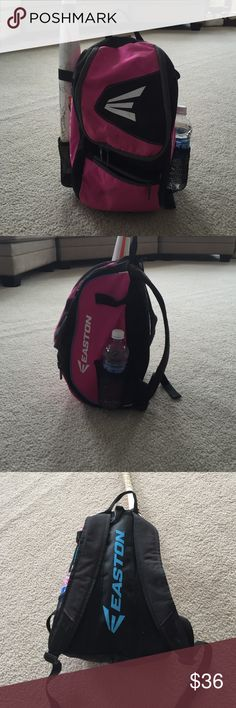 ⚾Huge Easton Softball Bag Sale⚾️ Easton Girl's Softball Bag.  Pink and Black.  Backpack bag.  Holds 2 bats or bat and water bottle. Inside holds helmet, glove and face mask.  Front pockets to hold batting gloves and anything else your ball player needs!  Used only one season.  Get now as the softball season is coming fast!! Easton Accessories Bags
