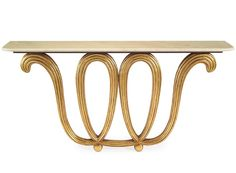 """Limited Production Design: 70"""" Long Artistic Gold Looped Marble Console Table * InStyle Decor"""