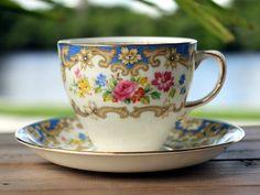 Tea Cup and Saucer, English Bone China Teacups, Old Royal 13632