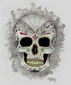 Dia de Los Muertos Skull Original Art By Creepymama by StagiWorks, $25.00