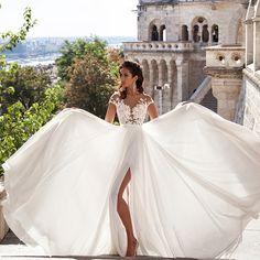 Beach Wedding Dresses 2016 Wedding Dresses Chiffon Lace Appliques Bridal Gowns Country Bride Dress