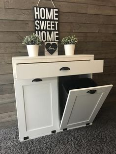 tilt out double bin with a drawer white (D-DRAW-W) - chalkboard / silver cupped/silver hinges Hide Trash Cans, Trash Bins, Farmhouse Furniture, Diy Furniture, Garbage Can Storage, Hidden Laundry, Diy Nightstand, Entry Tables, Home Upgrades