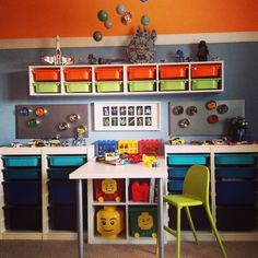 A Child's Work Desk.or two with Ikea Trofast and Plastic crates. A Child's Work Desk.or two with Ikea Trofast and Plastic crates. Kid Toy Storage, Lego Storage, Bench With Storage, Storage Ideas, Storage Benches, Playroom Organization, Table Storage, Plastic Storage, Storage Room
