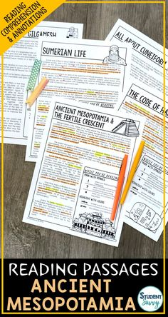 This resource is designed for an Ancient Mesopotamia unit. It contains 5 Engaging, Non-Fiction Reading Comprehension Passages with Directions for Student Annotations! Reading Comprehension Questions also included!
