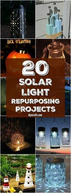 20 Solar Light Repurposing Ideas To Brighten Up Your Outdoors I love repurposing crafts and was thrilled to find these great DIY lighting ideas! You can use solar lights to make some. Diy Solar, Solar Light Crafts, Cheap Solar Lights, Solar Patio Lights, Outdoor Crafts, Outdoor Projects, Outdoor Ideas, Garden Projects, Garden Ideas