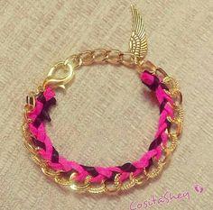 #pulsrera #cadena #dorada #rosaynegra
