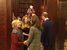 December 8, 2014 This evening the Duchess elected to wear an American designer, Tory Burch. Gray, horizonal tweed coat.
