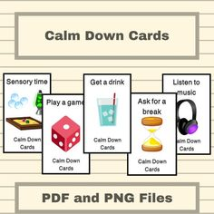 Calm Down Cards - Anxiety Relief - ABA, Special Education, Classroom Management - by AllDayABA Special Education Behavior, Elementary Physical Education, Classroom Behavior Management, Special Education Organization, Room Organization, Inclusion Classroom, Classroom Setup, Modern Classroom, Future Classroom