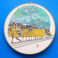 van Gogh-inspired travel embroidery by Charles Henry #hoopart