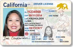 """The California DMV begins accepting applications today for """"Real ID"""" driver's licenses and IDs. Starting in you'll need Real ID-compliant identification to board a domestic flight. Ca Drivers License, Drivers License California, Driver License Online, Driver's License, License Plates, Templates Printable Free, Psd Templates, Fake Identity, Id Card Template"""