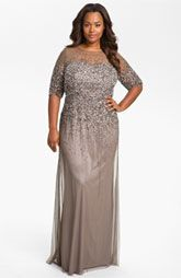 Adrianna Papell Beaded Illusion Gown for the mother of the bride or groom.