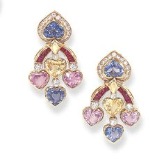 Sapphire, Ruby and Diamond Ear Pendants, Bulgari