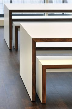 White desks with wood edge. Monitises New Collaborative London Headquarters
