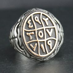"Sterling Silver Ring for Men with ""Abjad"" Islamic Talisman Ring"
