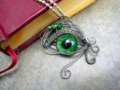 Steampunk - Dragon Evil Eye - Pendant - Green - OOAK - Color shift - Hand