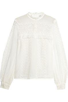 Self-Portrait | Crocheted lace and cotton-blend blouse | NET-A-PORTER.COM
