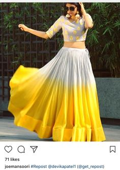 Yellow n white Indian Fashion Dresses, Indian Gowns Dresses, Dress Indian Style, Indian Designer Outfits, Party Wear Lehenga, Party Wear Dresses, Bridal Lehenga, Choli Designs, Lehenga Designs