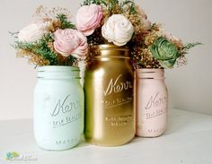 Mint peach Blush and Gold Spring and Summer Wedding centerpiece mason jar Spring Wedding Colors, Summer Wedding, Dream Wedding, Camp Wedding, Spring Theme, Spring Colors, Table Rose, Bridal Shower, Baby Shower