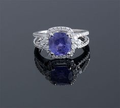 Cushion Cut Violet No Heat Sapphire and Diamond Ring S=3.16cts   D=0.60cts Platinum (11 x 18mm)