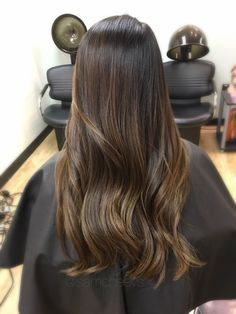 Brown highlights for black hair // Asian hair color // ombre for dark hair // balayage