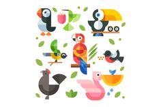 Magic animal world, geometric flat by Oleg Beresnev on Creative Market