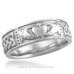Claddagh Wedding Band - The Claddagh is a traditional Irish symbol representing love, loyalty and friendship. In our Claddagh ring, we wrapped a Celtic knot pattern from edge-to-edge of the symbol. This makes a great set with the Claddagh Engagement Ring!