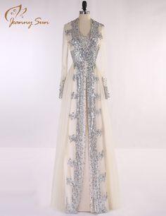 2016 New Arrival Elegant A Line Chiffon Beaded Turkish Arabic Evening Dresses Long Sleeves Muslim Dress Kaftan Robe JS2808