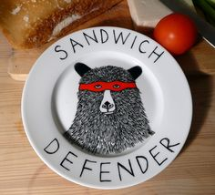 Definitely need this when @Laura Mowrey is around!  ~~Side Plate - Hand Painted -The Sandwich Defender Bear. $39.50, via Etsy.
