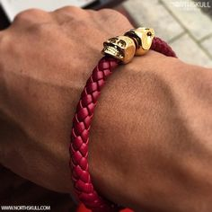 Fan Instagram Pic ! | @Chico_chino Posted A Cool Photo Of His Deep Red Nappa Leather/ 18kt. Gold Twin Skull Bracelet. The Vibrant Blend Of Style & Sophistication Makes This Bracelet A Perfect Addition To The Wrist. Great Choice! | Available now at Northskull.com | For A Chance To Get Featured Post A Cool Photo Of Your Northskull Jewelry With The Tag #Northskullfanpic On Instagram