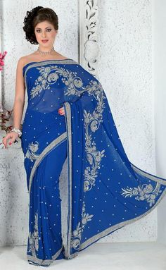 $204.25 Blue Stone Work Georgate Party Wear Saree 25668