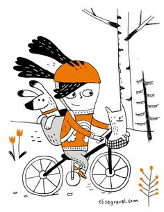 Elise Gravel • little girl • kid • bike • sport • dog • cat • cute • motivation • drawing • illustration